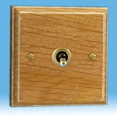Varilight Kilnwood 1 Gang 1 or 2 Way 10A Dolly Toggle Switch, Limed Oak Finish XKT1LO